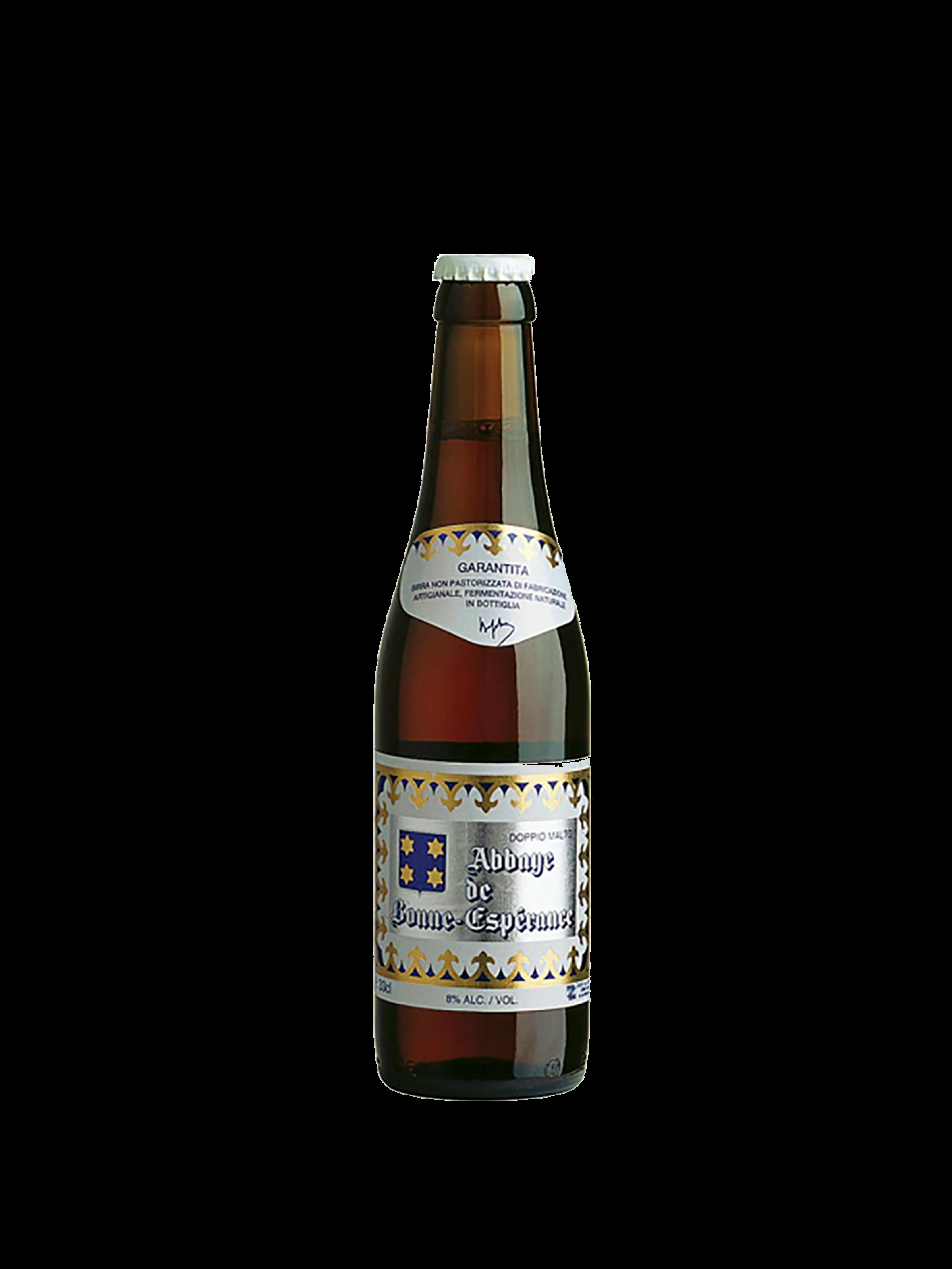 Bottiglia di birra con etichetta bianca con il nome della birra in nero