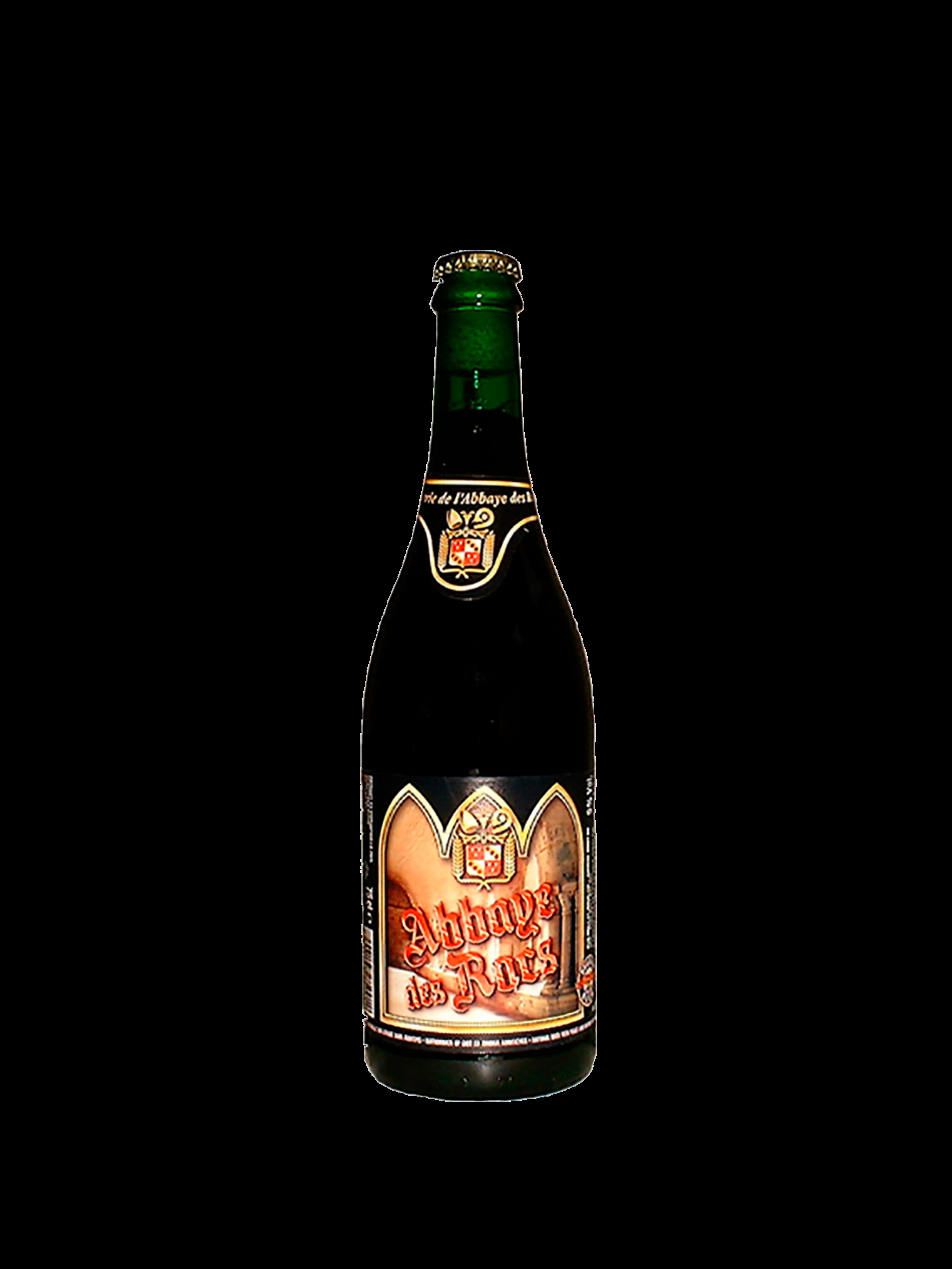 Bottiglia di birra con etichetta color arancione con nome birra in rosso