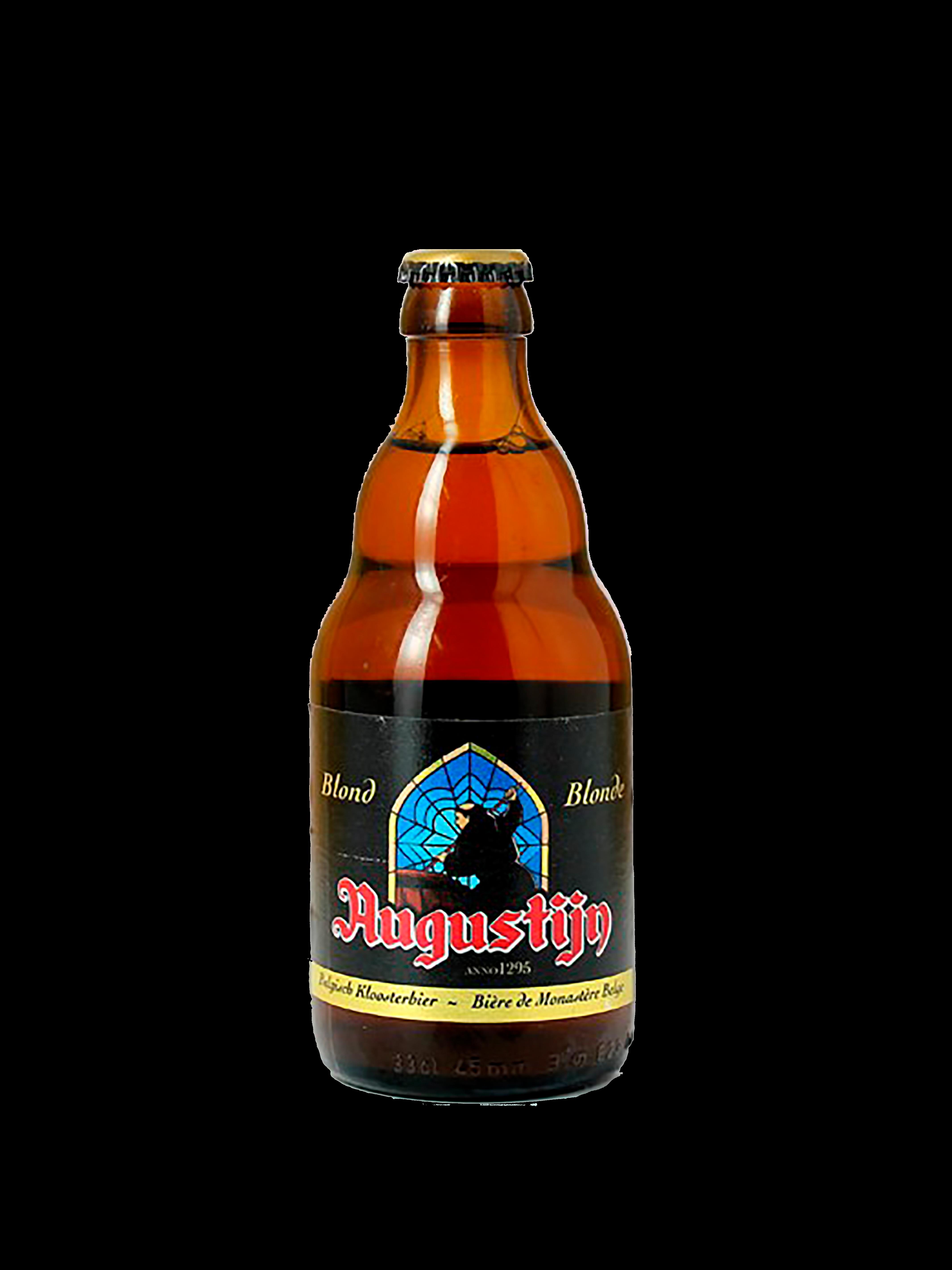 Bottiglia di birra tondeggiante con etichetta nera con nome della birra in rosso