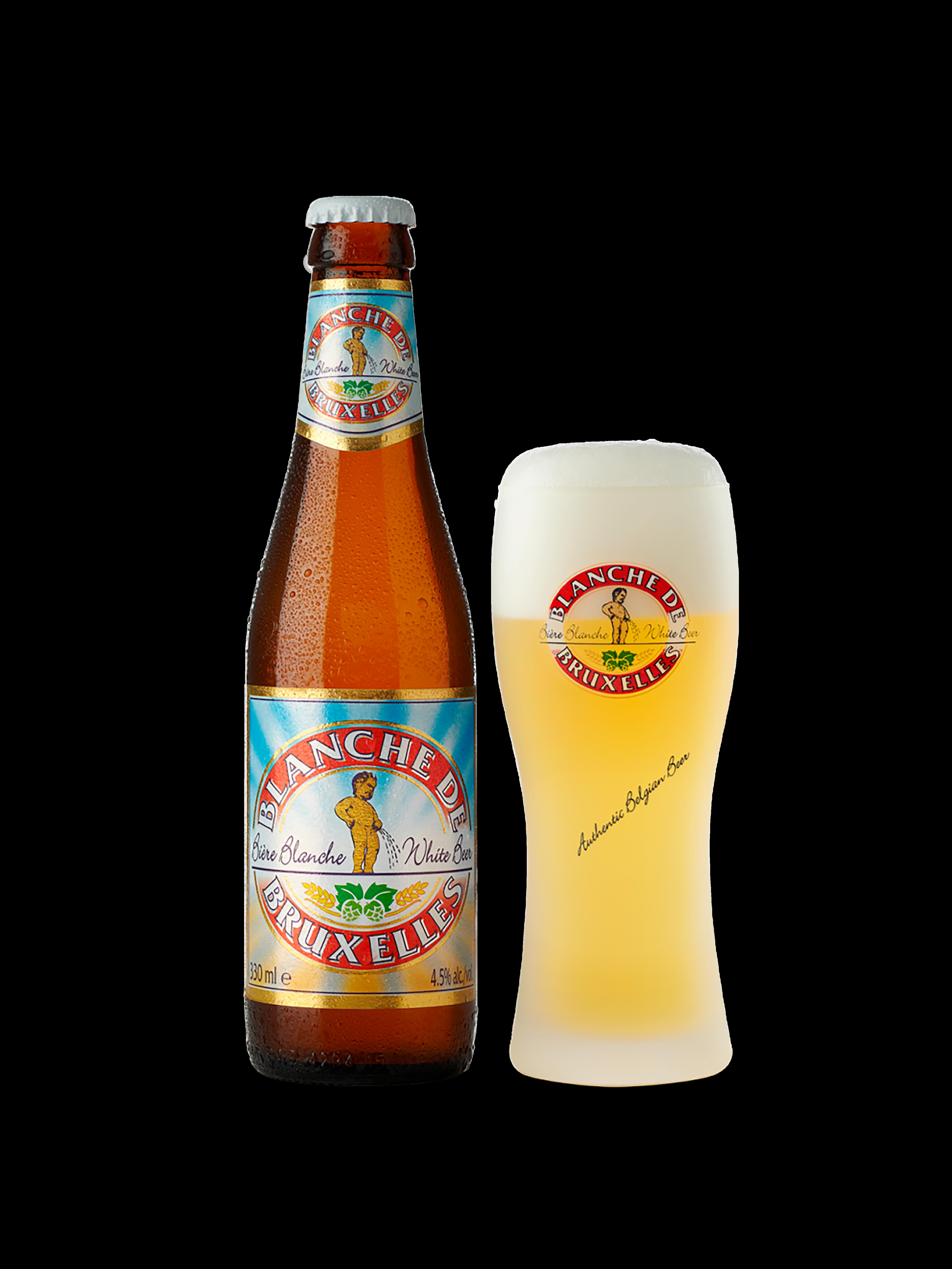 Bottiglia di birra con etichetta multicolore rappresentante un angelo che fa la pipì, a fianco un bicchiere