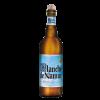 Bottiglia di birra con tappo di sughero ed etichetta color blue/azzurro, e scritte nere