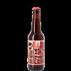 Bottiglia di birra con etichetta color rosso e scritte nere