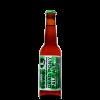 Bottiglia di birra con etichetta color verde con scritte nere