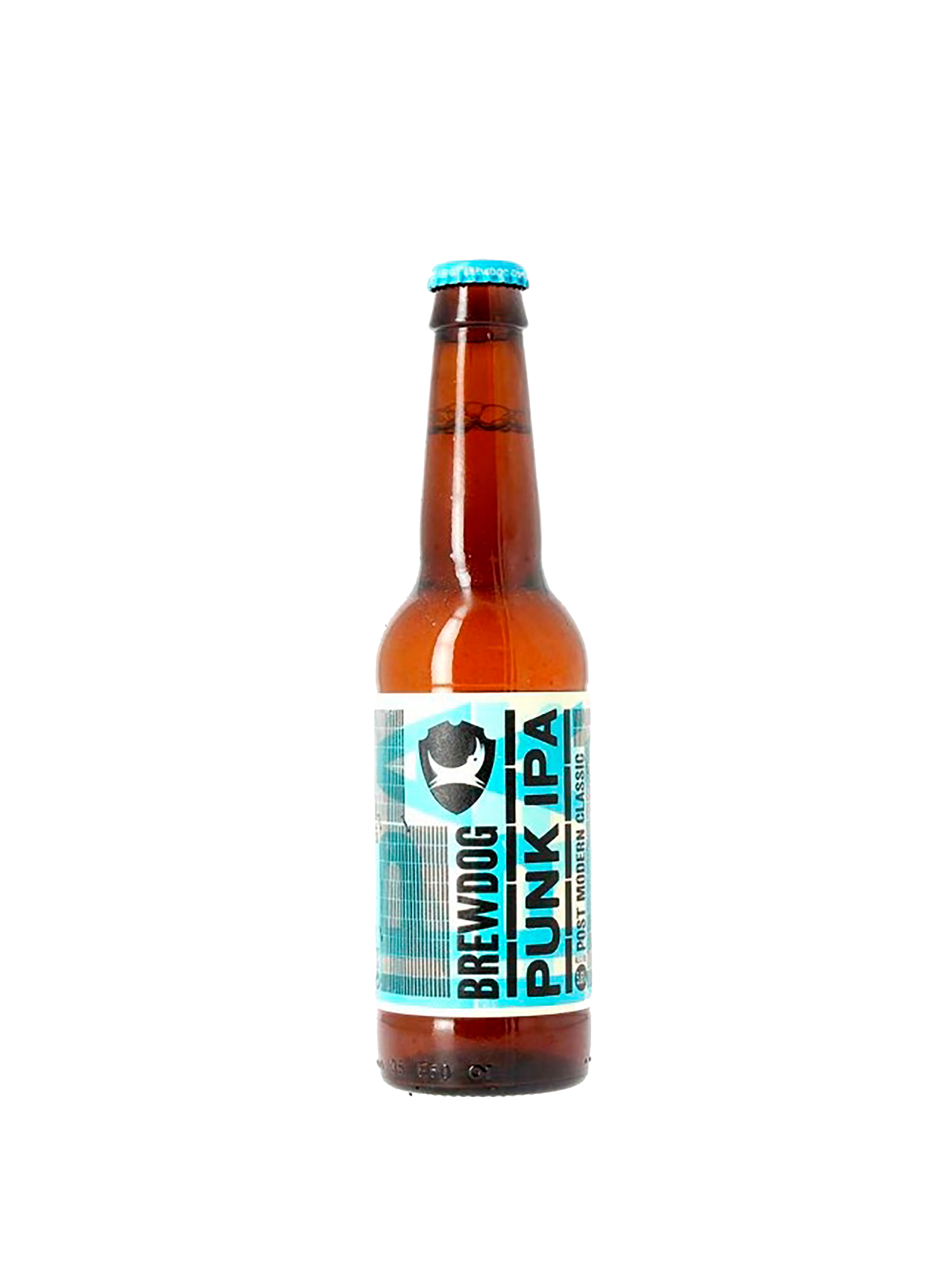 Bottiglia di birra con etichetta azzurra con scritte nere