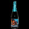 Bottiglia di birra stile vino, con etichetta blu con rappresentato un arciere
