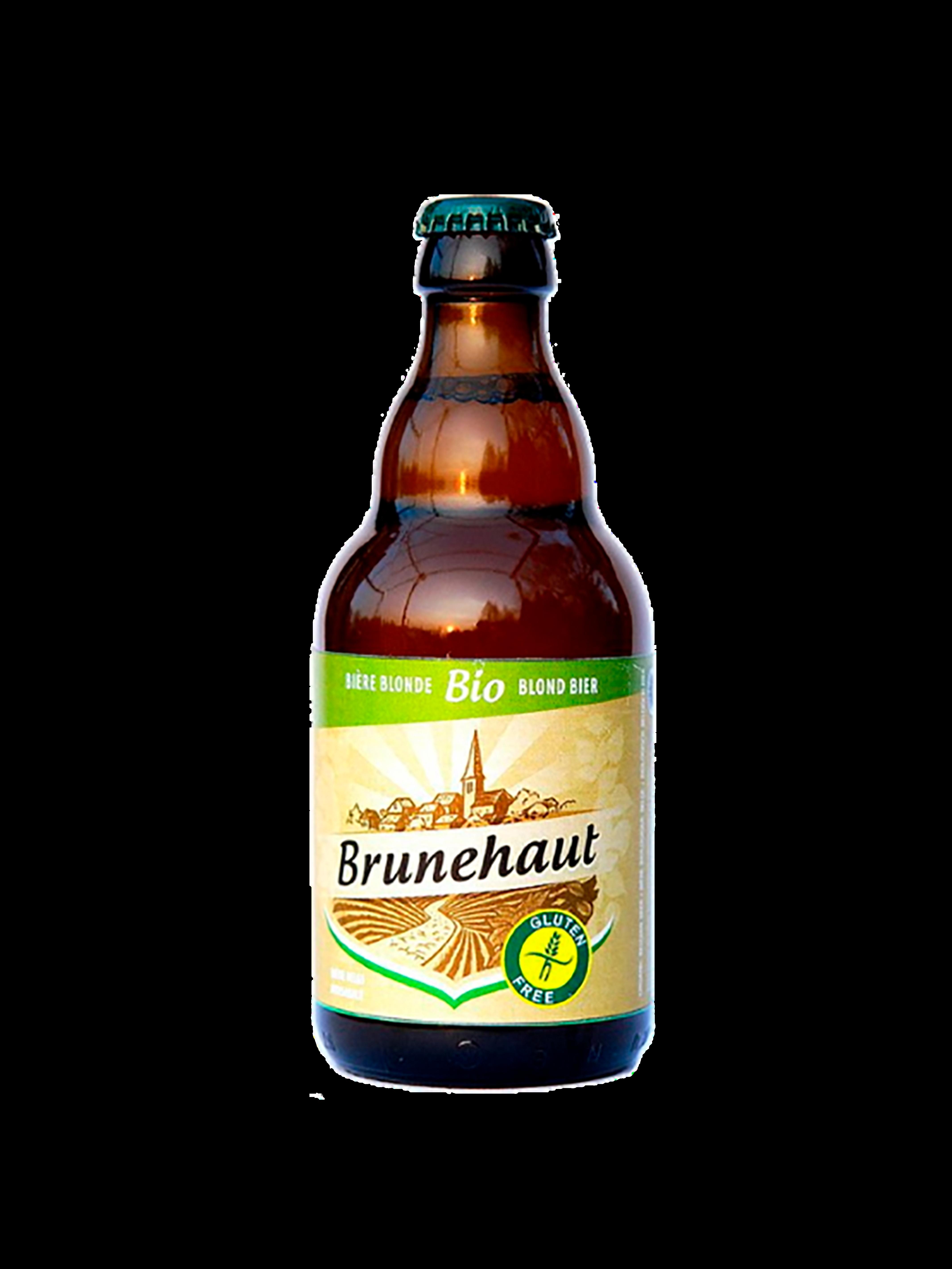 Bottiglia di birra tondeggiante con etichetta gialla e verde