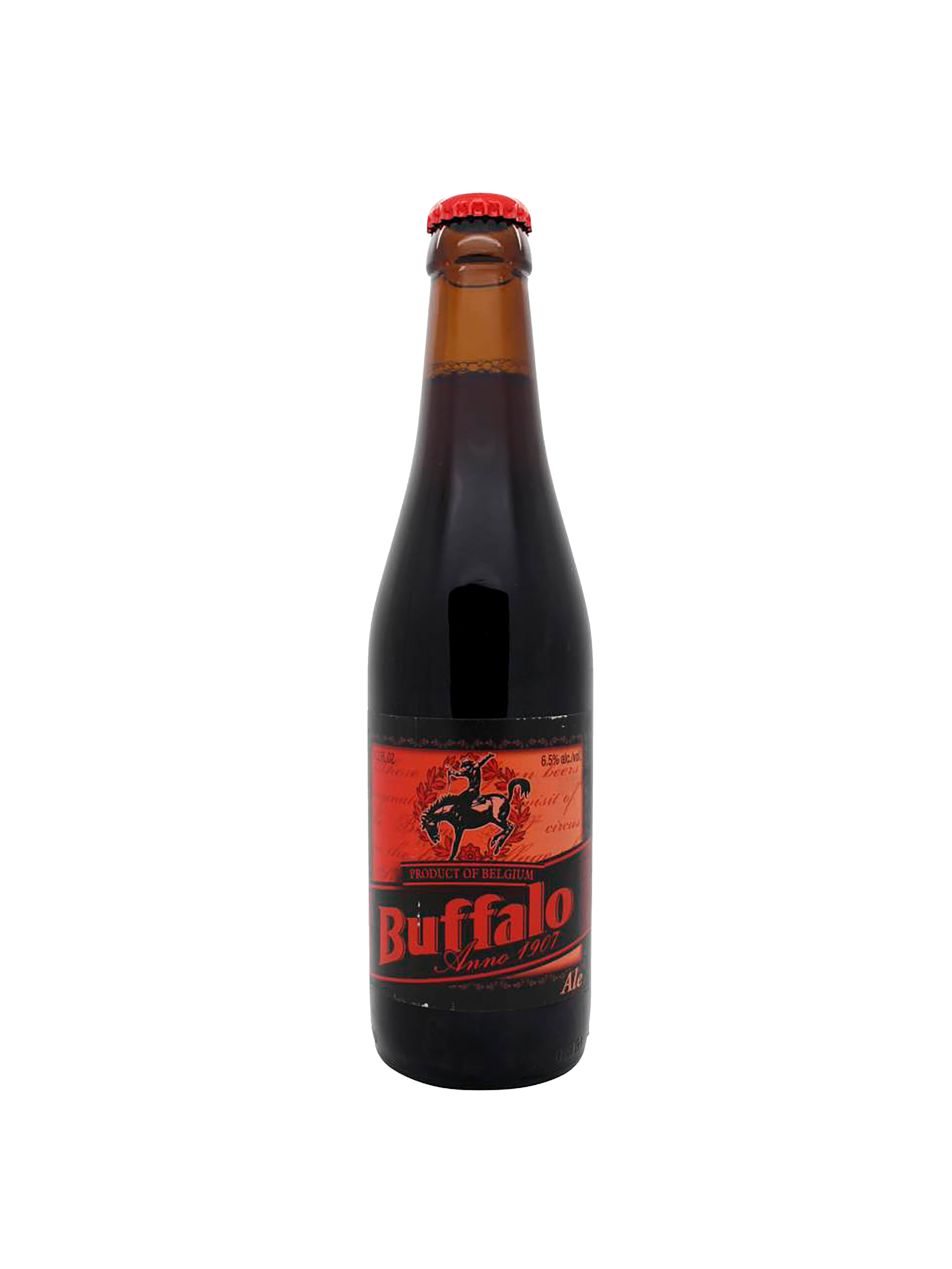 Bottiglia di birra color nero, con etichetta rossa con scritte rosse e nere