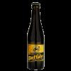 Bottiglia di birra nera con etichetta color oro