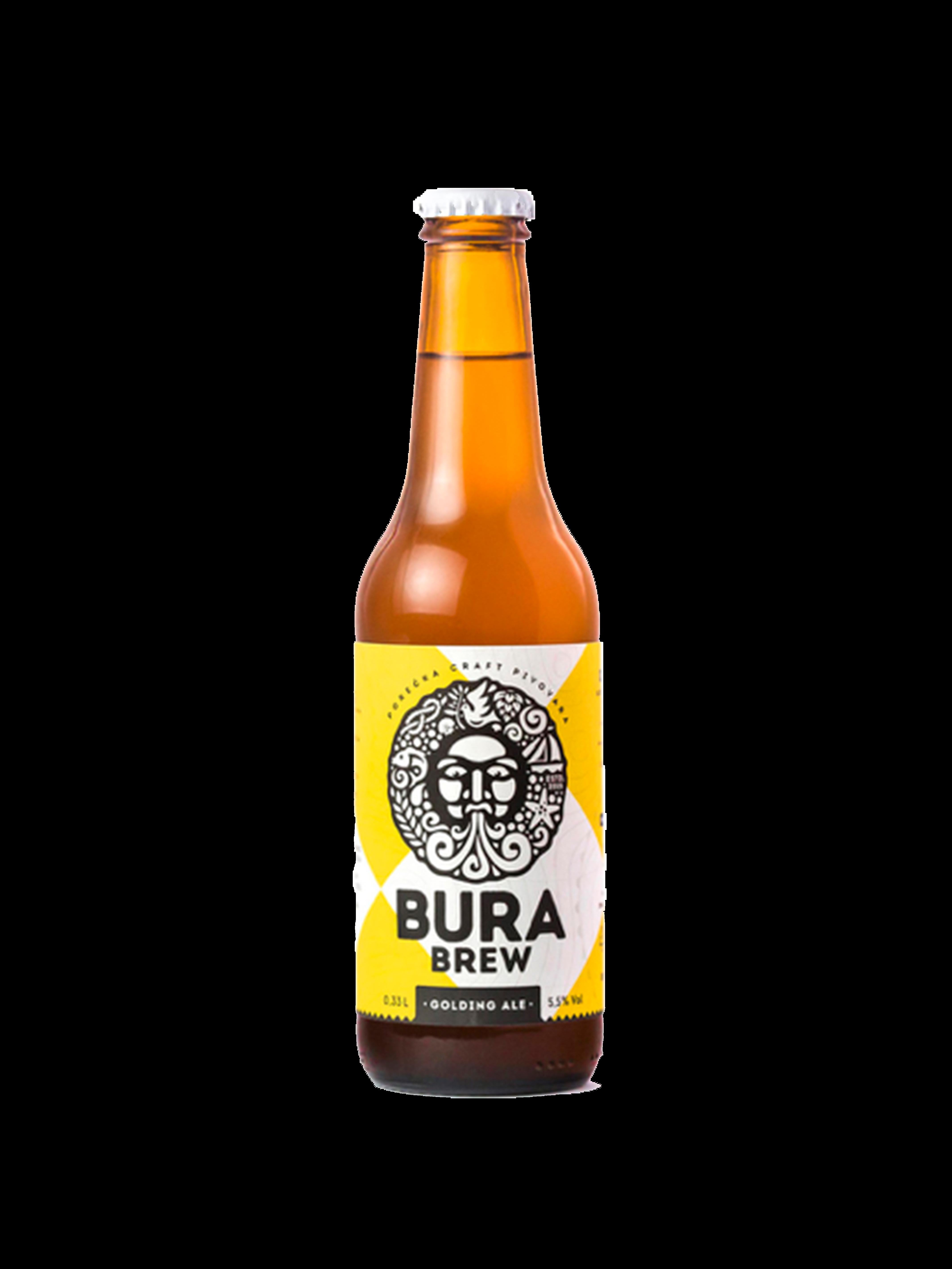 Bottiglia di birra bianca e gialla con scritte nere