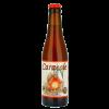 Bottiglia di birra con tappo rosso e etichetta chiara