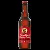 Bottiglia di birra color rosso con etichetta rosso e scritte bianche