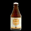 Bottiglia di birra con etichetta color bianco con nome della birra